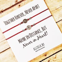 "Compass Friendship Bracelet Set with ""Together Forever"" Card 