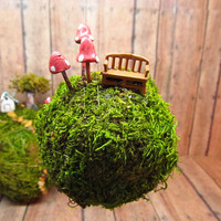 Small Planet Moss - Hanging moss ball - ornament  - Miniature planet with tiny bench and glow in the dark mushrooms- handmade by Gypsy Raku