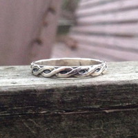 Sterling Silver Ring with Twisted Pattern, Wedding Band, Thumb Ring, Silver Band