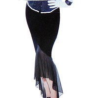 Velvet & Mesh Long Female Skirt
