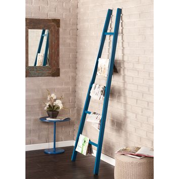 Zhowie Storage Ladder in Navy Blue Metal