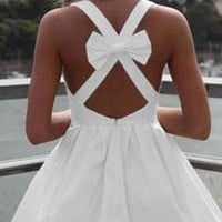 Sexy White Vintage Back Bow Cut Out Mini Dress Sleeveless Zip Back Closure