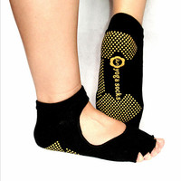 New 1Pair Half Toe Ankle Grip Durable Yoga Pilates Socks Five Finger No-Slip
