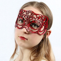 """Masquerade mask in red leather """"Victoriana"""""""