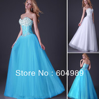 Fast Delivery Grace Karin Beautiful Ball Gown Pink White and Blue Corset top Floor Length Long Sequin Prom Dresses CL3519