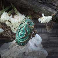baroque, antique  green ring, oval ring, vintage ring, polymer clay ring, antique gold, antique bronze