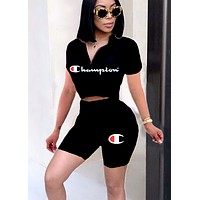 Champion women's letter print sexy casual two-piece suit Black