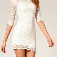 White Lace Bodycon Dress [4905490372]