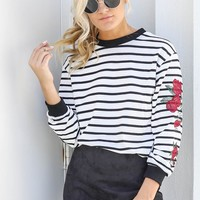 Back In Town White Striped Rose Top