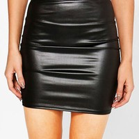 Ria Leather Look Mini Skirt | Boohoo