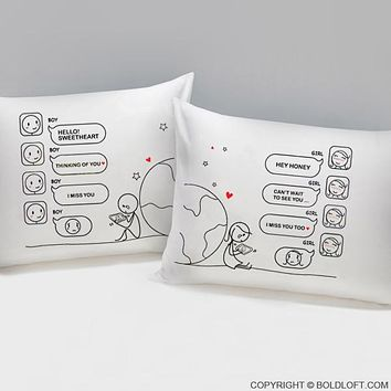 Wish You Were Here™ Couple Pillow cases, Long Distance Relationships Gifts, His and Hers Gifts for Him, for Her, LDR Couples, I Miss You Gifts, Christmas Gifts, Valentine's Day, Anniversary