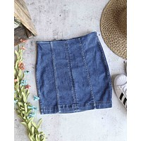 Free People - Modern Femme Novelty Mini Denim Skirt in Light Blue