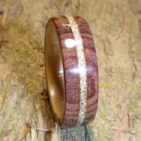 Cocobolo Lined with Bentwood White Birch, Beach Sand Inlay (Custom Wood Ring)