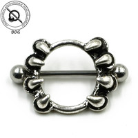 BOG-Pair Sexy Love Paw Shape Nipple Shield Cap Piercing Nipple Ring Body Jewelry 316L Surgical Steel Barbell 16g  14g