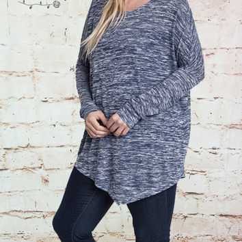 Asymmetrical Knit Top - Indigo