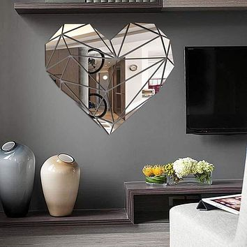 Heart Acrylic Mirror Wall Stickers