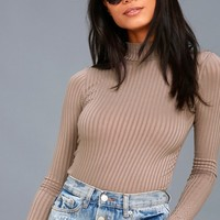 Someone Like You Taupe Long Sleeve Mock Neck Top