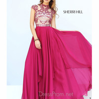 Illusion Neckline Cap Sleeved Formal Prom Gown By Sherri Hill 1933