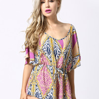 Multicolor Geo And Leaves Print Bat Sleeve Open Back Romper Playsuit