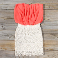 Bewilder Lace Dress in Coral
