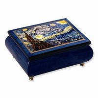 Vincent Van Gogh Starry Night Sunflowers Velvet Music Jewelry Boxes