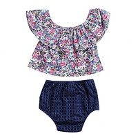 2pcs Kid born Toddler Baby Girls Clothing Set Off Shoulder Floral Tops + Hollow Out Triangle shorts Outfits Set Clothes