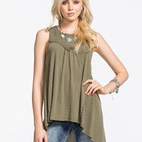 Others Follow High Neck Fanciful Womens Top Olive  In Sizes