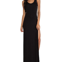 Black Scoop Neck Maxi Dress With Side Split