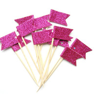 12 Hot Pink Glitter Flag Cupcake Toppers - Washi Tape Cupcake Toppers, wedding, engagement, birthday, baby shower, tea party