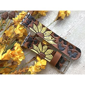 Ready to Ship - Leather Apple Watch Band with Leopard Print and Yellow Sunflowers 38mm or 40mm