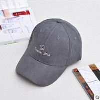 """Thank You"" Gray Cap Dad Hat for Women & Men Strapback Baseball Cap Bone Gorras Casquette Masculino Chapeu Gorra Bones Gray Masculino"