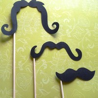 Staches of fun Set of 12 Moustaches on a stick for props and photo booths