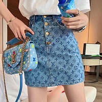 Louis Vuitton LV summer new style ladies classic jacquard denim skirt skirt