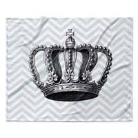 "Suzanne Carter ""Crown"" Blue Black Fleece Throw Blanket"