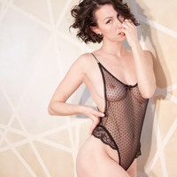 Black lace Bodysuit Playsuit sexy dotted stretch mesh sheer playsuit leotard Lace lingerie by Impish Lee