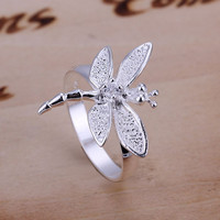 ringfine summer style 925 jewelry silver rings 925-sterling-silver jewelry of silver dragonfly rings for women SR017