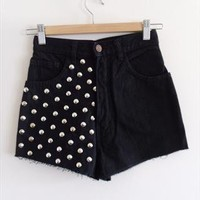 """Reworked Black Studded High Waisted Denim Cut Off Shorts 24"""" from SianVictoriaBoutique"""