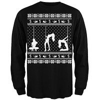 Stripper Silhoutte Ugly Christmas Sweater Black Adult Long Sleeve T-Shirt