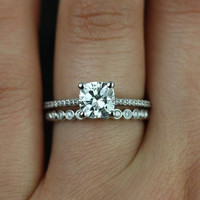 Petite Marcelle & Petite Bubbles 14kt White Gold Cushion FB Moissanite and Diamond Wedding Set (Other metals and stone options available)