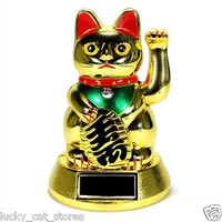Maneki Neko Feng Shui GOLD BECKONING CAT Lucky Waving arm solar powered