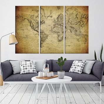 92026 Large Wall Art World Map Canvas Print Old World Map Travel Canvas Print Modern XXL