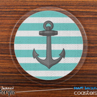 The Green Striped Anchor Skinned Foam-Backed Coaster Set