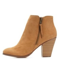 Camel Side-Zip Chunky Heel Booties by Charlotte Russe