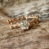 Prong Set Green Moissanite and Rose Gold Wreath Band