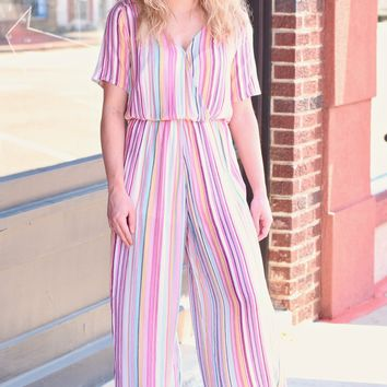 Candyland Stripes Jumpsuit {Rainbow}