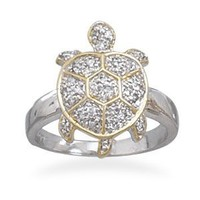 Two Tone and CZ Turtle Ring