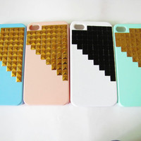 iPhone 4 4s Case, iPhone 4g 4gs pink Hard Case with gold panel pressing AB40