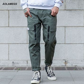 Aolamegs Men Casual Pants Fashion Vintage Straight Trousers 2017 Spring New Mens Cargo Pants Sweatpants With Zipper Pockets