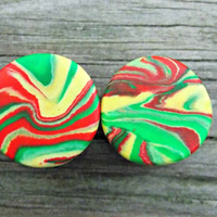 Rasta Ear Plugs, Green, Red, Yellow, Jamaica Ear Gauges, Any Size 8g (3.2mm) - 1 inch (25mm) Larger Sizes Available