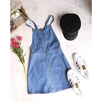 Final Sale - Honey Punch - O Ring Zip Up Denim Overall Dress - Denim